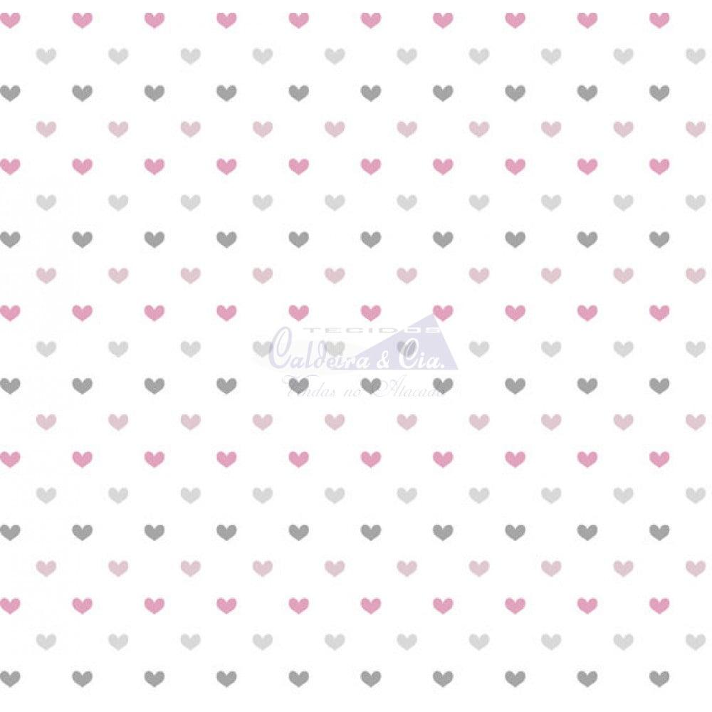 Amor cor - 02 (Cinza com Rosa) corações