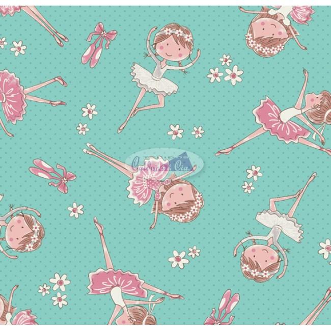 Tecido Estampado Mini Bailarinas cor - 03 (Tiffany)