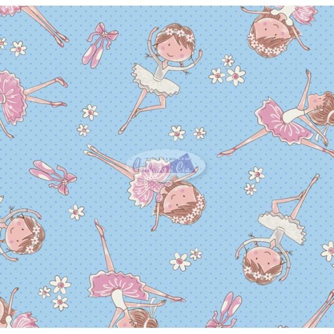 Tecido Estampado Mini Bailarina cor - 04 (Azul com Rosa)