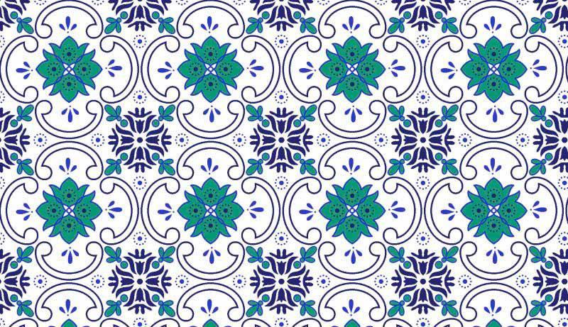 Azulejo Des. 2452 var02- f/branco c/Verde