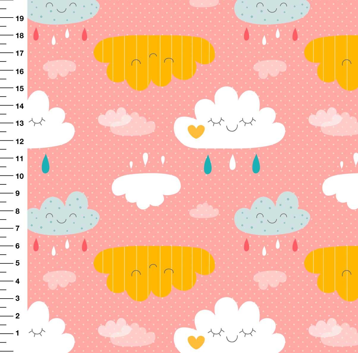 Nuvem Chuva Fundo Rosa Desenho 27171 - Digital