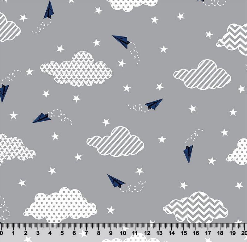 Avião de Papel Nuvem Chevron e Estrelas Des 3049 VAR1 - Cinza
