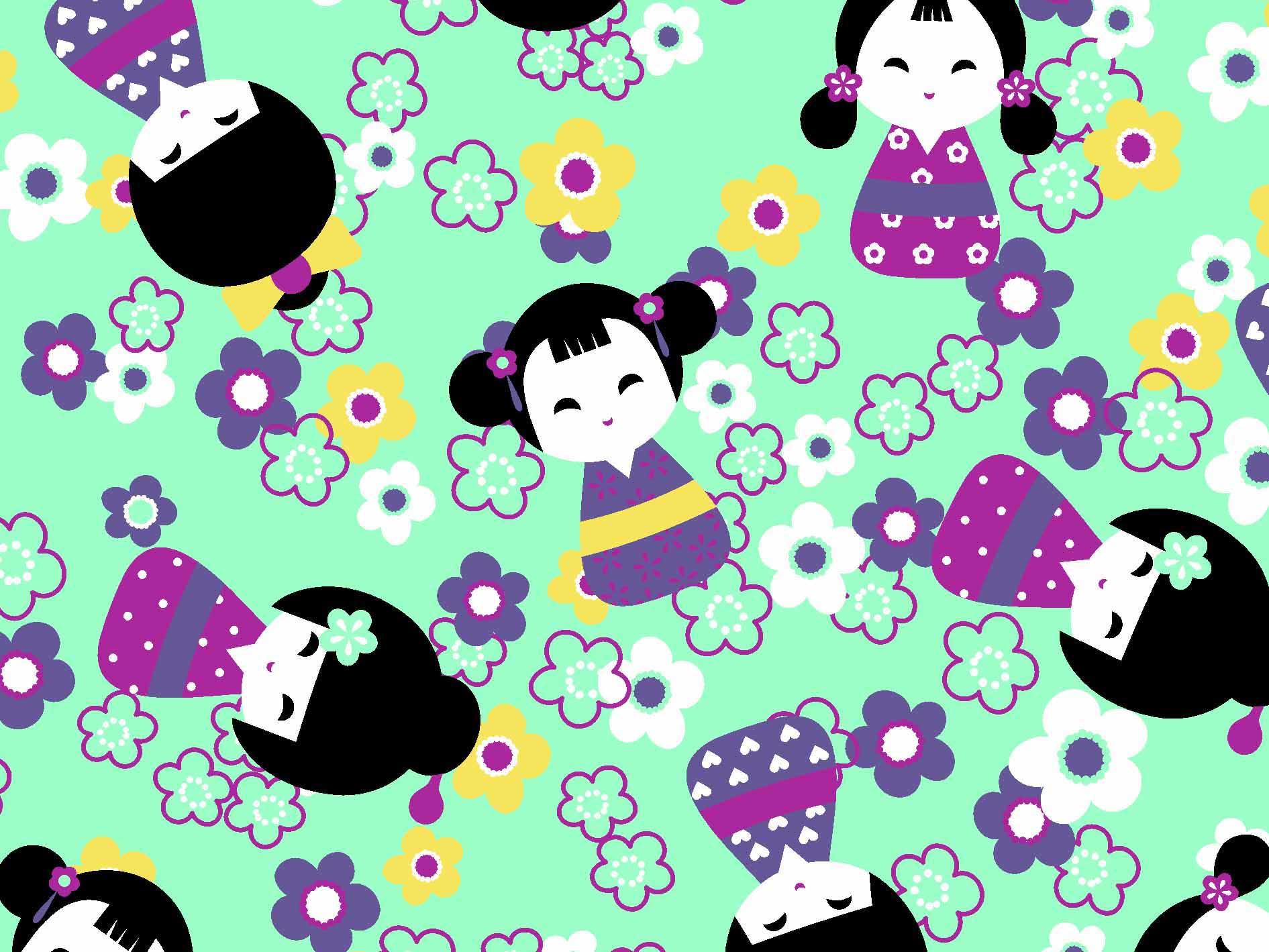 Boneca Kokeshi Des5192 var02- verde