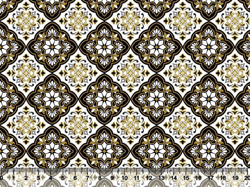 Arabesco Branco, Preto e Dourado Des. 5321 Var01