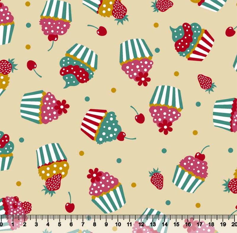 Cupcake Colorido Fundo Bege Des 3493 var01