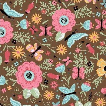 Borboletas Flores Fundo Marrom 8006-03