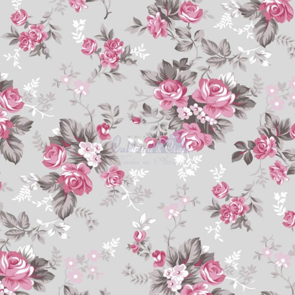 Floral Iris cor 14 (Cinza com Rosa)