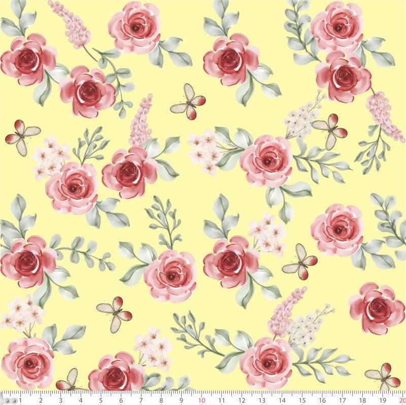 Floral Rosas fundo amarelo 66419 Var01