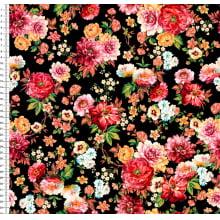 Floral Colorido Fundo Preto P9100E855