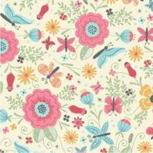 Borboletas Flores Fundo Bege 8006-01