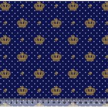 Coroa Des 2517 var14 - Fundo Marinho - Poá Azul - Coroa Dourada