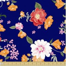 Floral Cores Fundo Marinho 8045 Var01