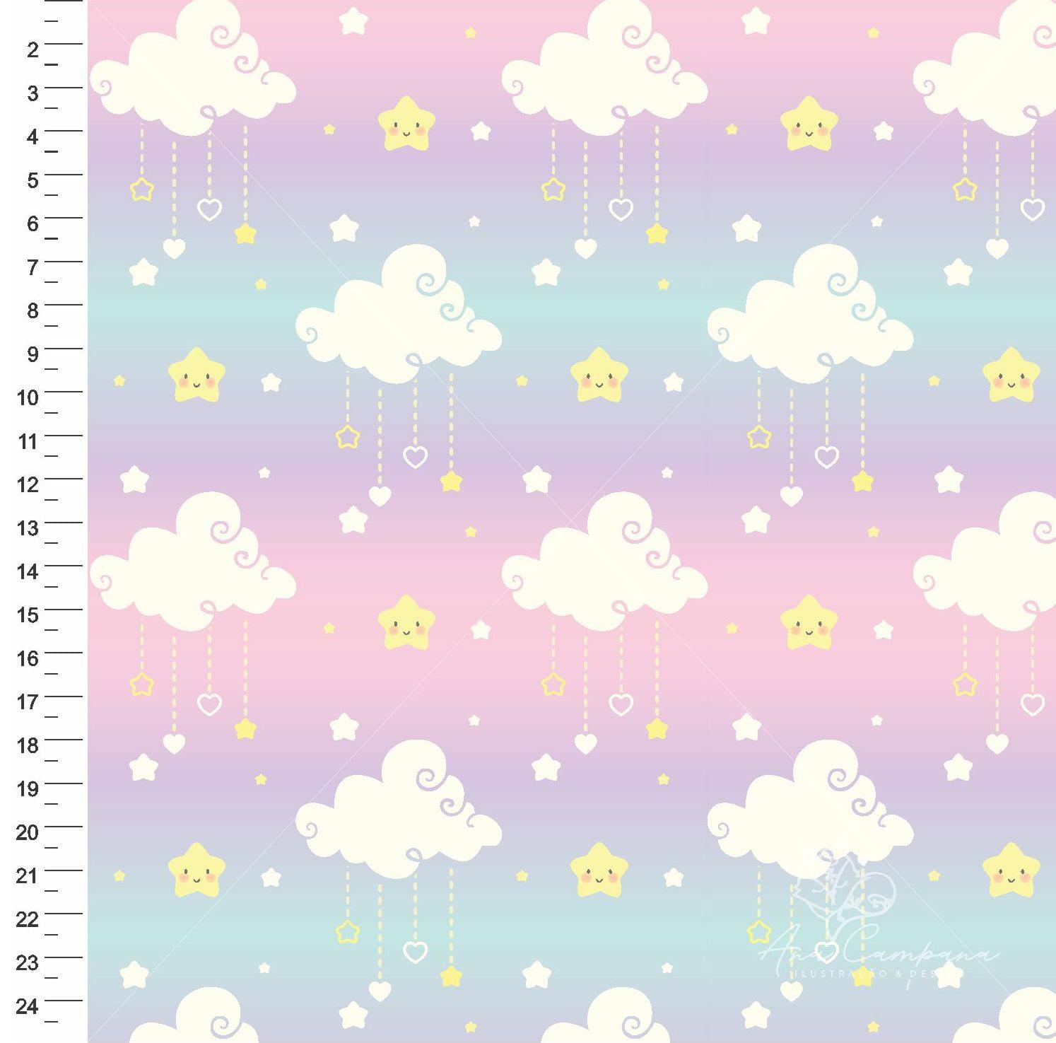 Nuvem Estrelas Rosa 9100e3159 - Ana Campana