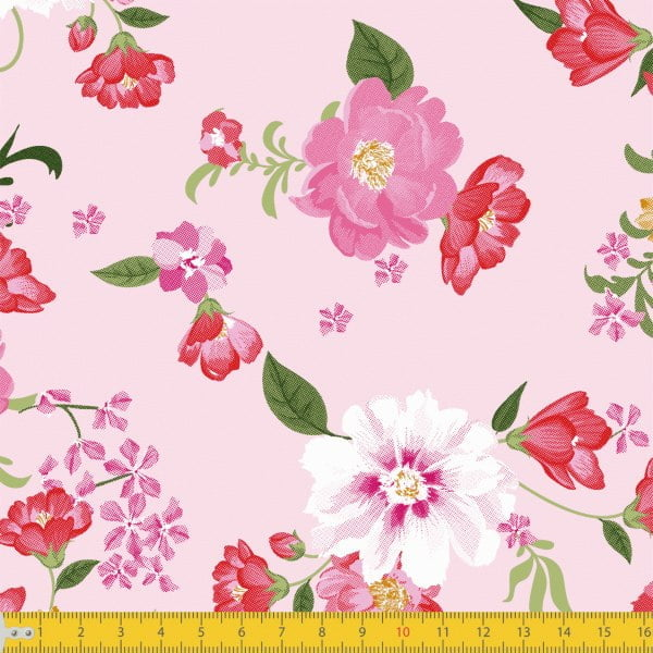 Floral Cores Fundo Rosa 8045 Var02