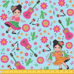 menina Violão Floral Fundo Azul 6049 Var01