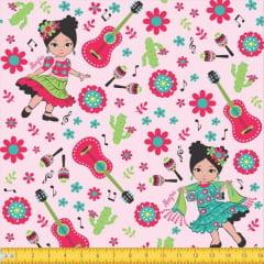 menina Violão Floral Fundo rosa 6049 Var02